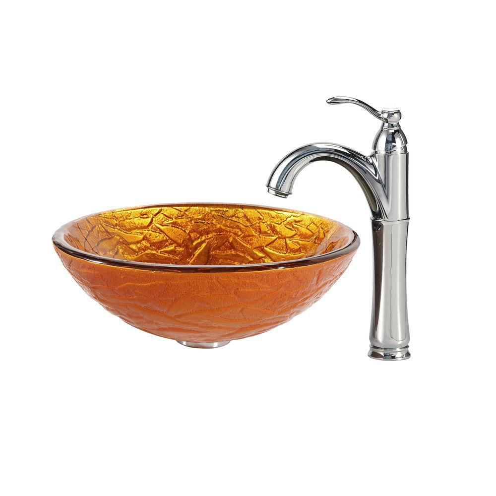 Blaze Glass Vessel Sink with Riviera Faucet in Chrome