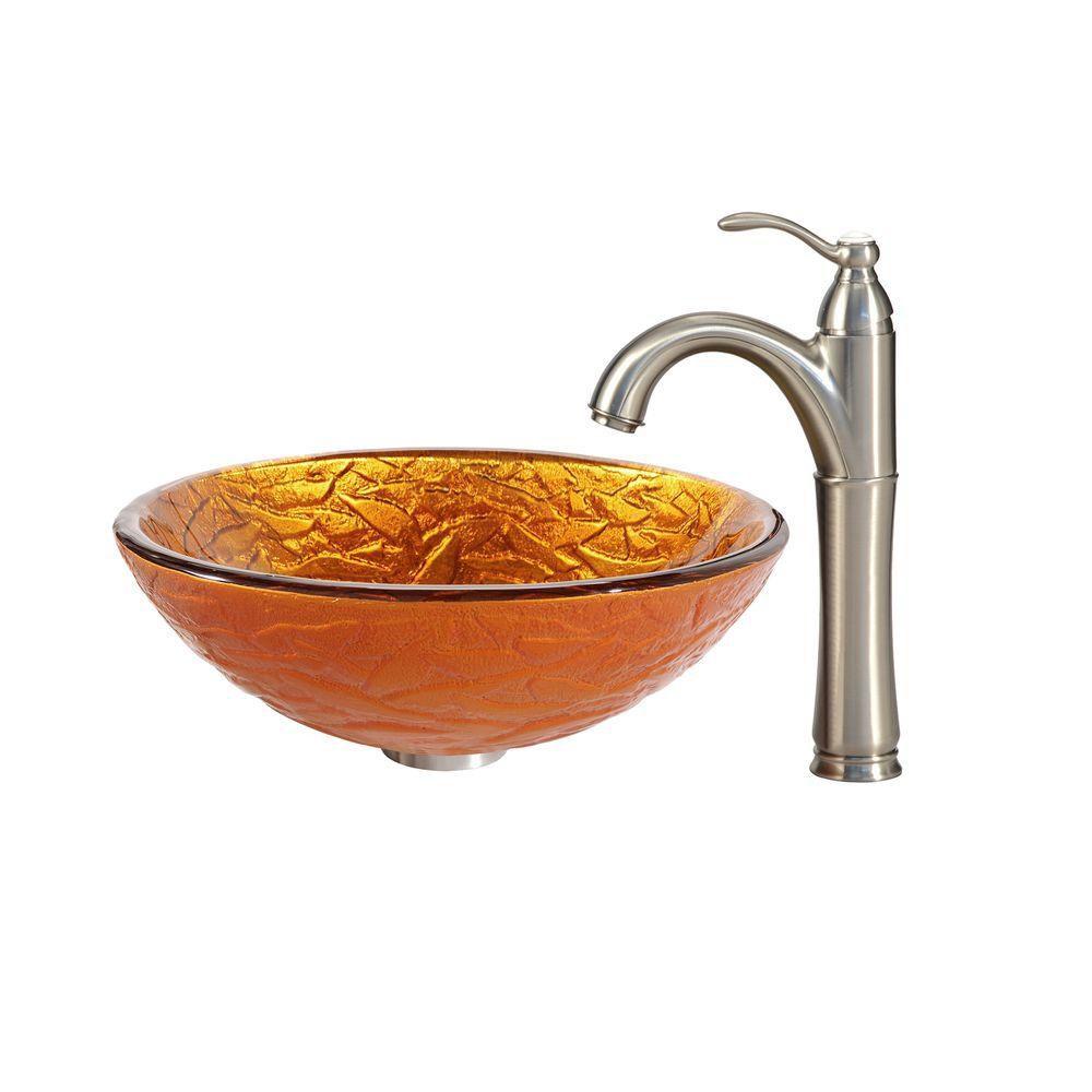 Lavabo-vasque en verre Blaze et robinet Riviera, nickel satiné