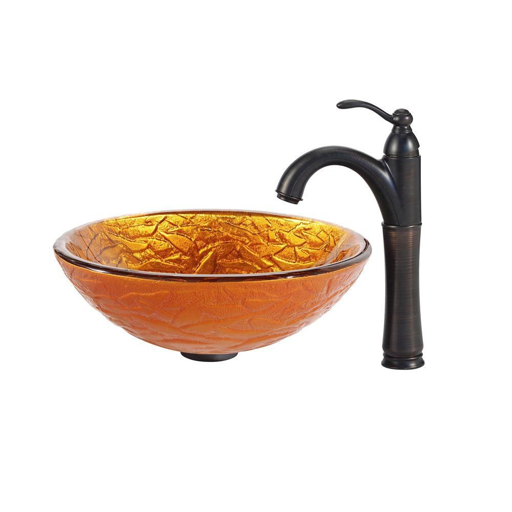 Blaze Glass Vessel Sink with Riviera Faucet in Oil-Rubbed Bronze