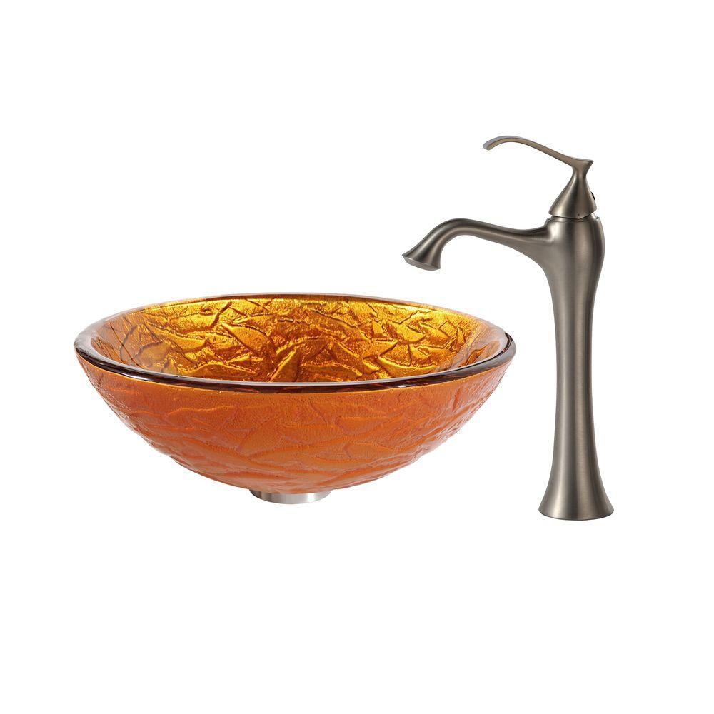 Lavabo-vasque en verre Blaze et robinet Ventus, nickel brossé