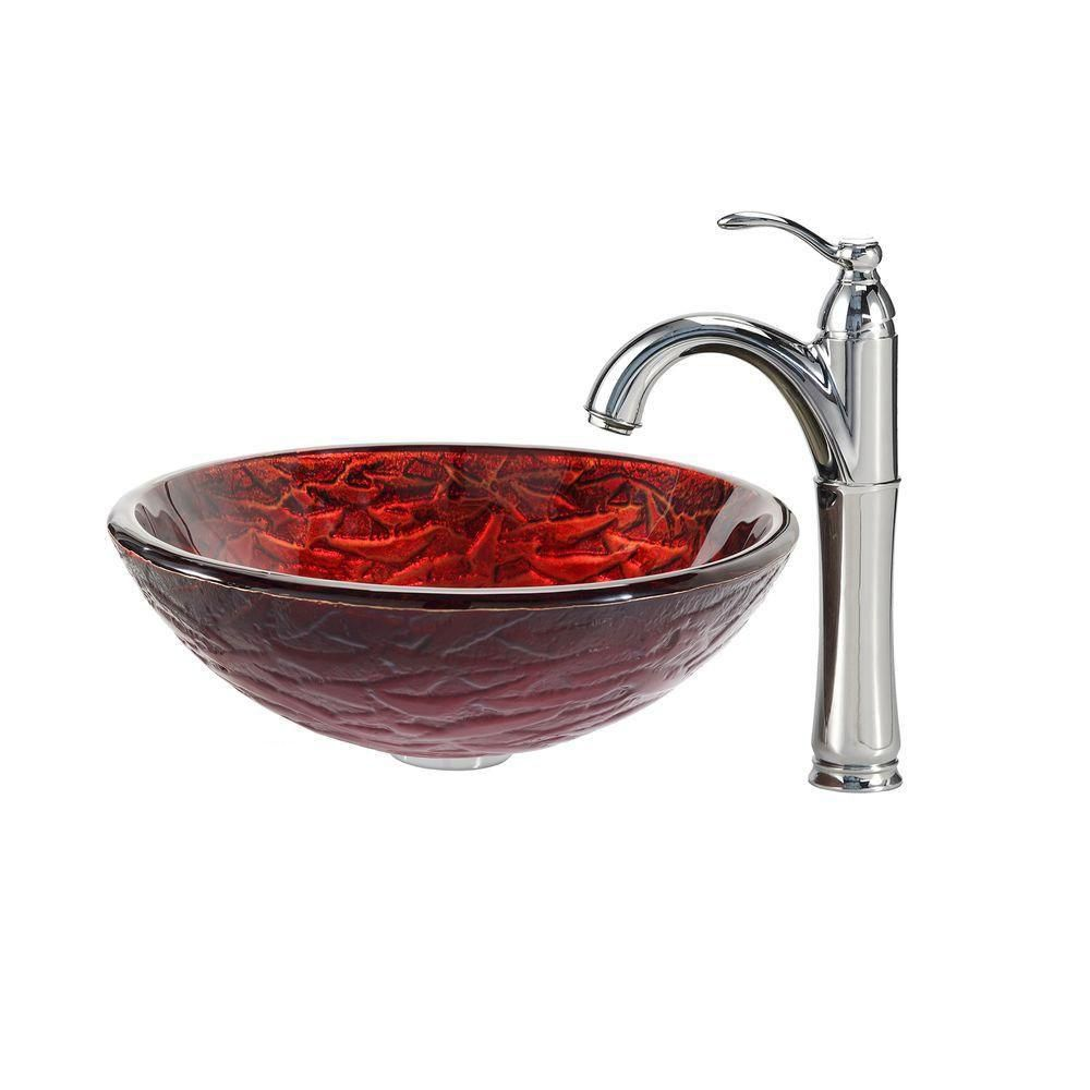 Nix Glass Vessel Sink with Riviera Faucet in Chrome