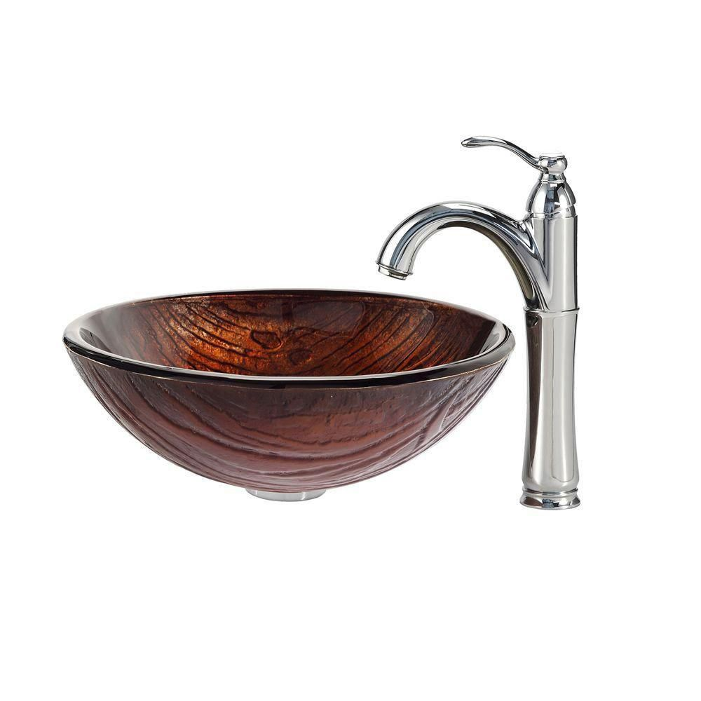 Titania Glass Vessel Sink with Riviera Faucet in Chrome