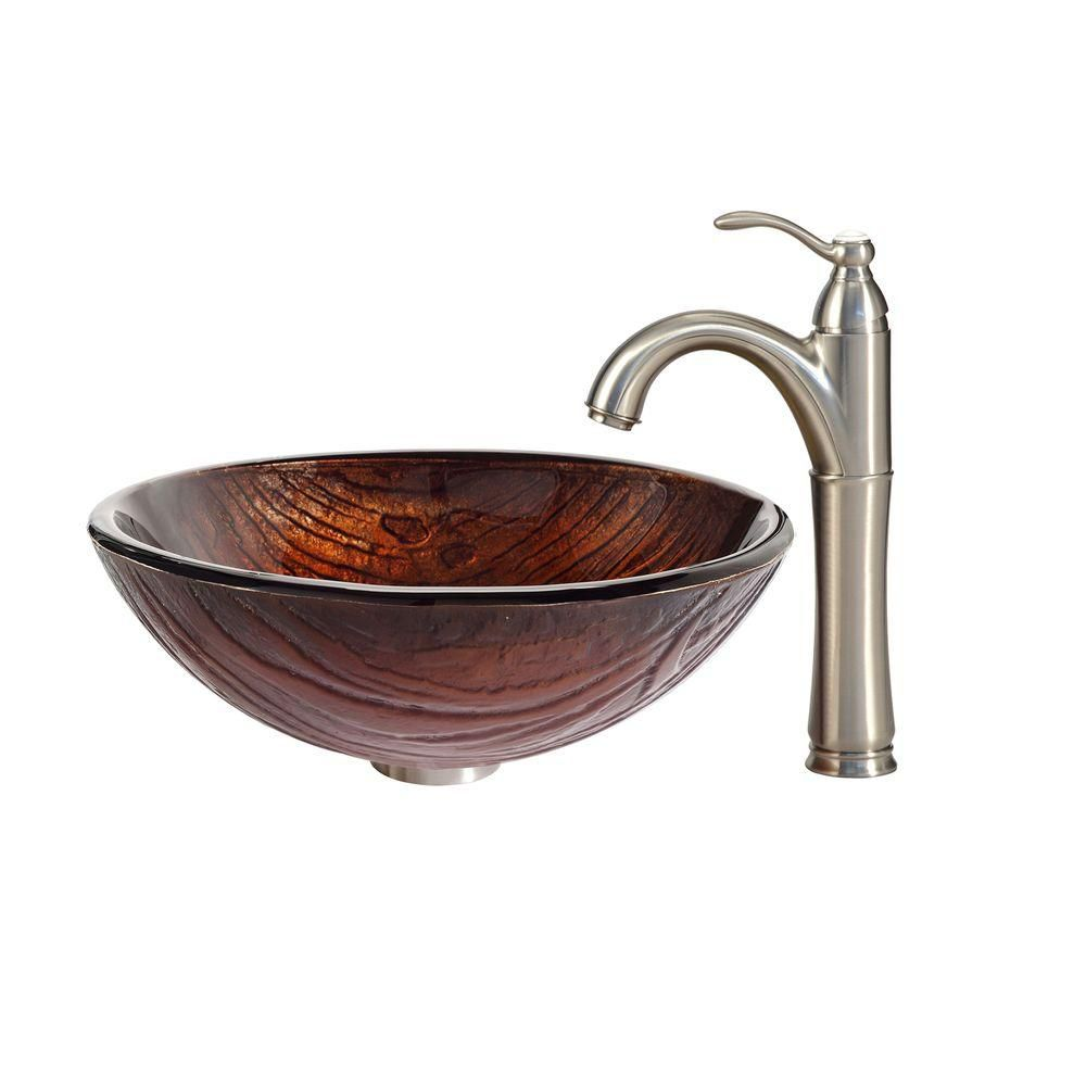 Titania Glass Vessel Sink with Riviera Faucet in Satin Nickel