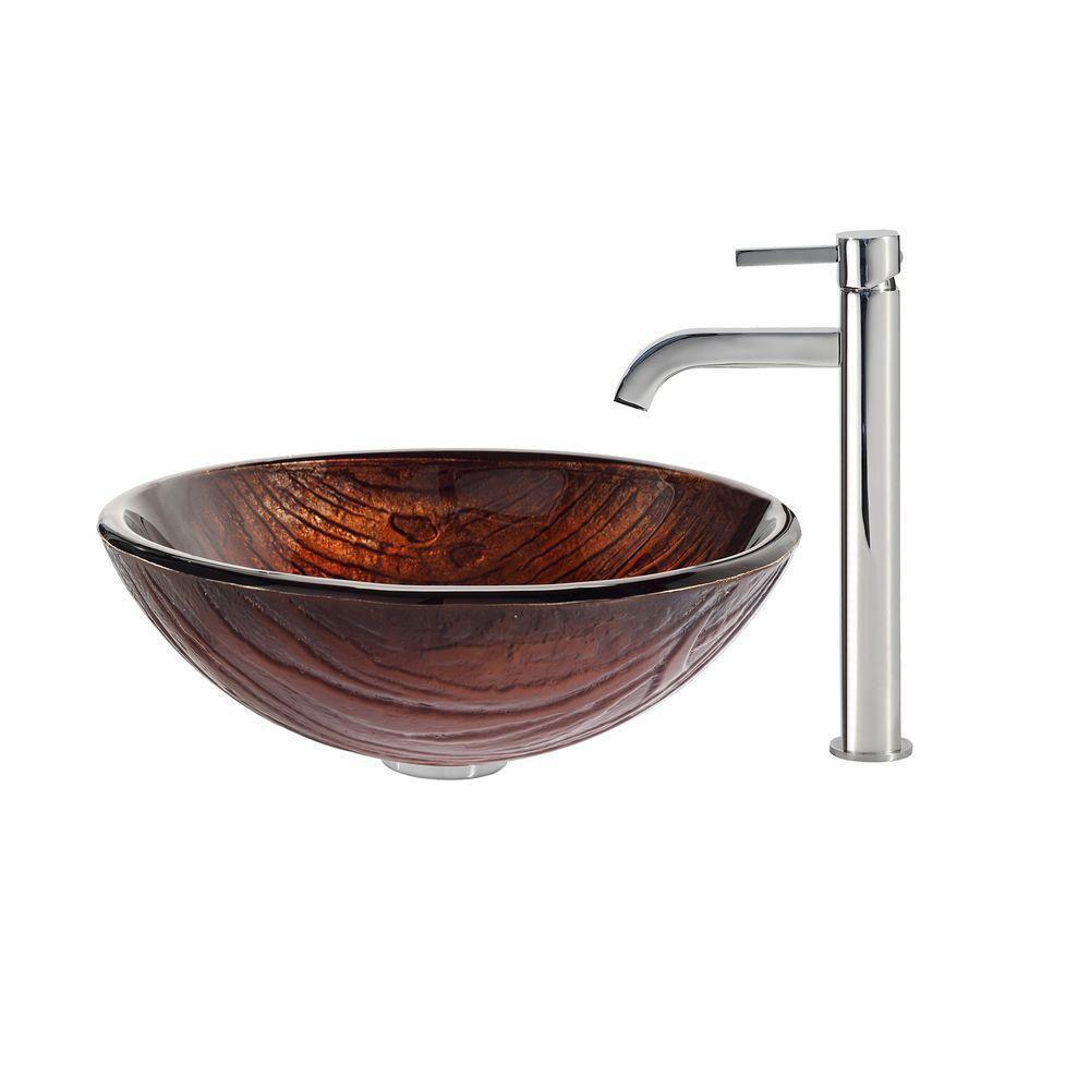 Lavabo-vasque en verre Titania et robinet Ramus, chrome