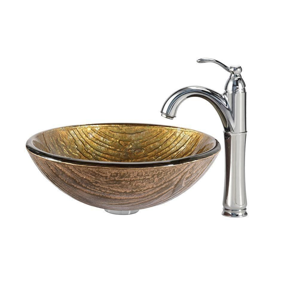 Terra Glass Vessel Sink with Riviera Faucet in Chrome
