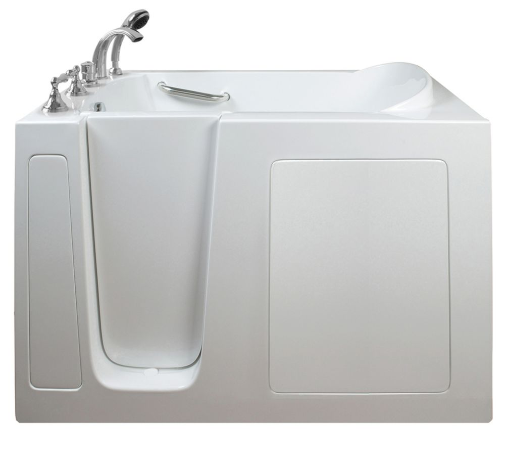E-Series Soaking 51 Inch. X 26 Inch. Walk In Tub In White With Left Drain E2651SL in Canada