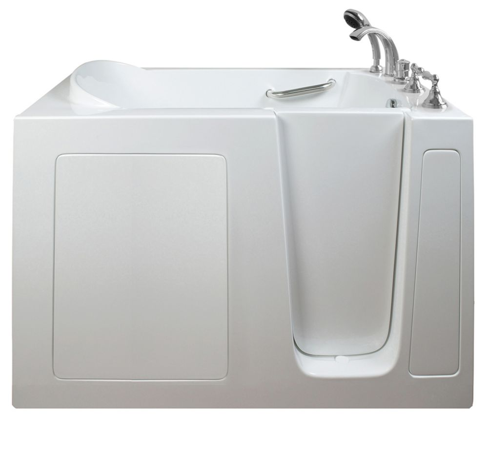 E-Series double Massage 51 po x 26 po promenade dans la baignoire en blanc avec le drain droit