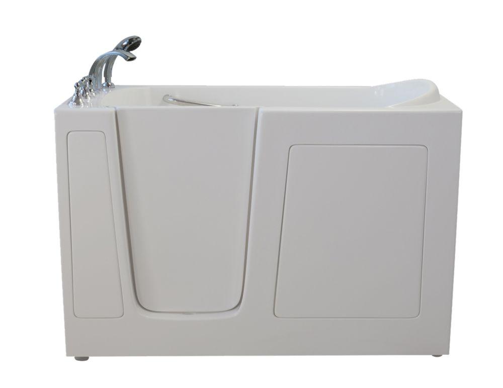 E-Series double massage de 60 po x 30 po promenade dans la baignoire en blanc avec drain Gauche
