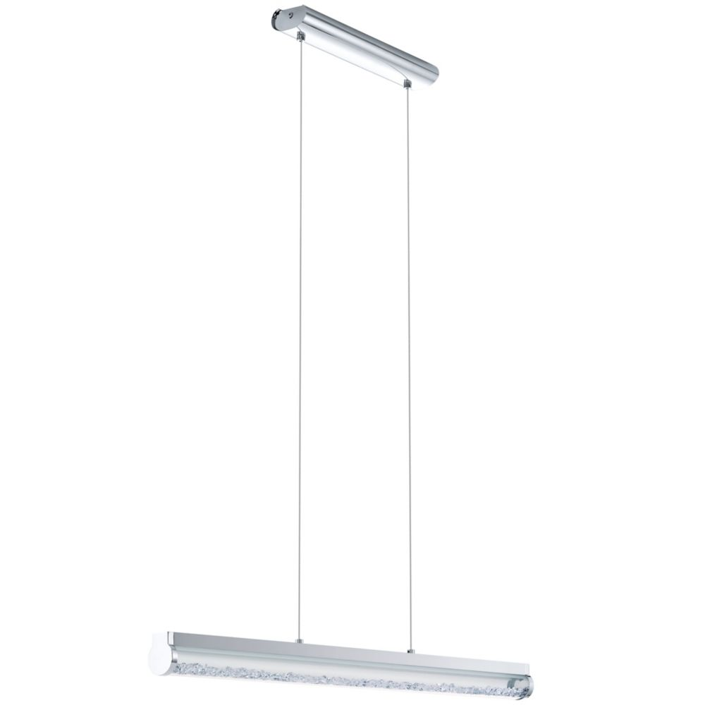 Trevelo Linear LED Pendant, Chrome Finish With Clear Glass & Crystals