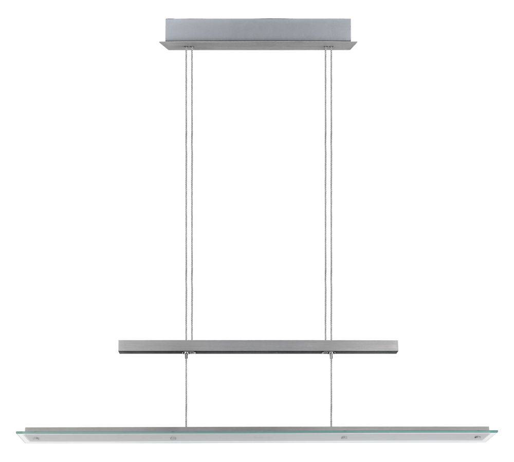 Agosta LED Linear Pendant, Silver Finish with Satin & Clear Glass