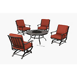 Hampton Bay Redwood Valley 5-Piece Metal Outdoor Patio Fire Pit Seating Set with Quarry Red Cushions