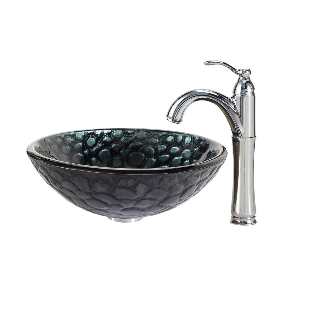 Kratos Glass Vessel Sink with Riviera Faucet in Chrome