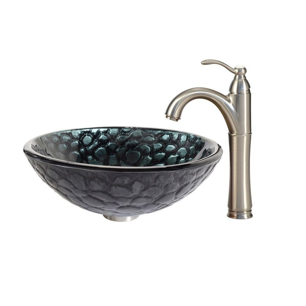 Kratos Glass Vessel Sink with Riviera Faucet in Satin Nickel