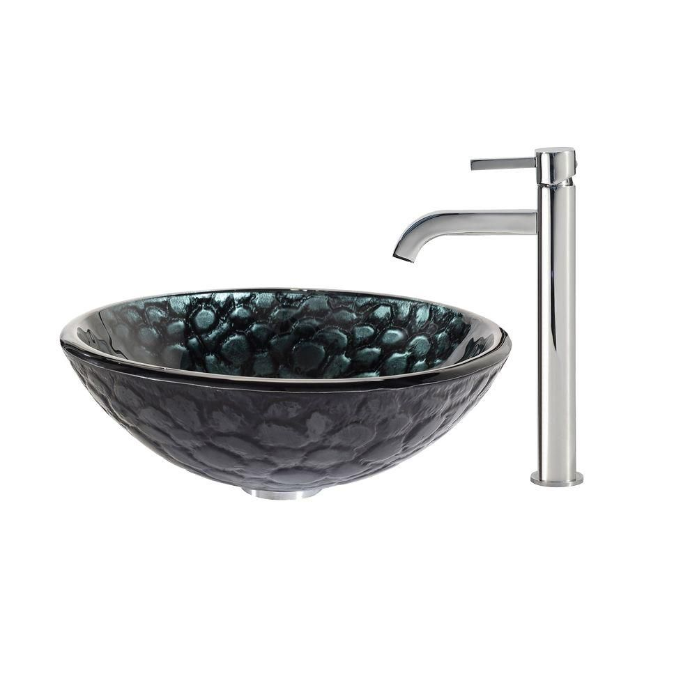 Kratos Glass Vessel Sink with Ramus Faucet in Chrome