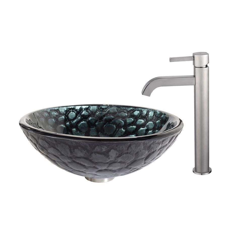 Kratos Glass Vessel Sink with Ramus Faucet in Satin Nickel