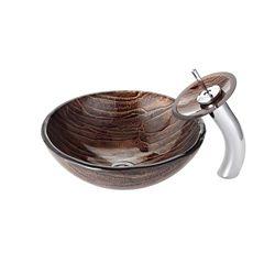 Kraus Lavabo-vasque en verre Gaia et robinet à cascade, chrome