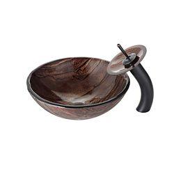 Kraus Lavabo-vasque en verre Gaia et robinet à cascade, bronze huilé