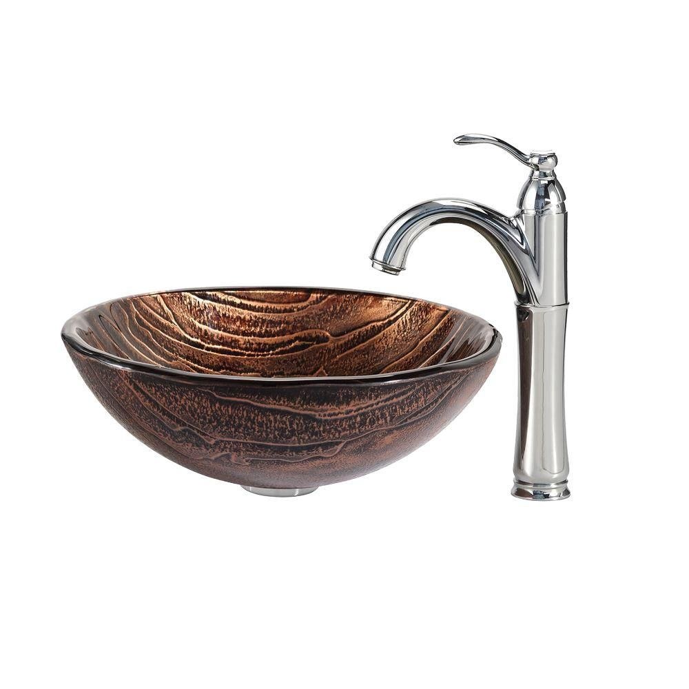 Glass Vessel Sink in Gaia with Riviera Faucet in Chrome