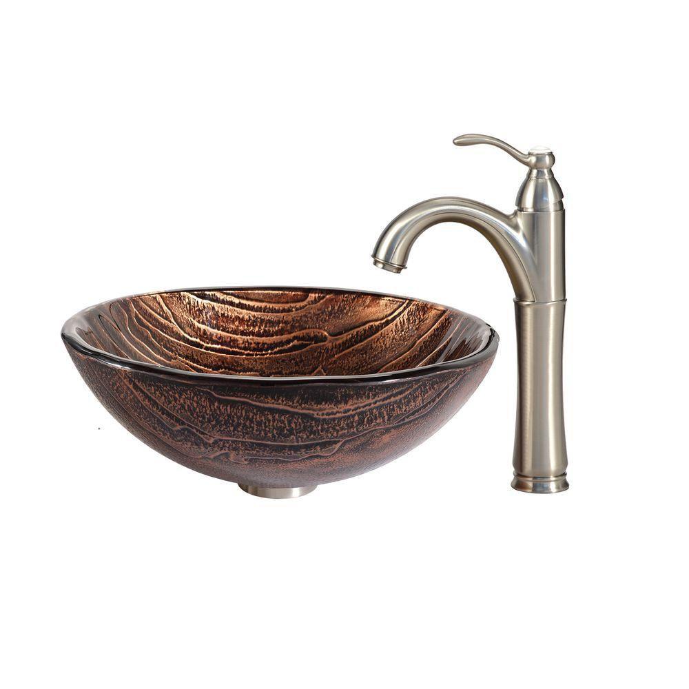 Lavabo-vasque en verre Gaia et robinet Riviera, nickel satiné