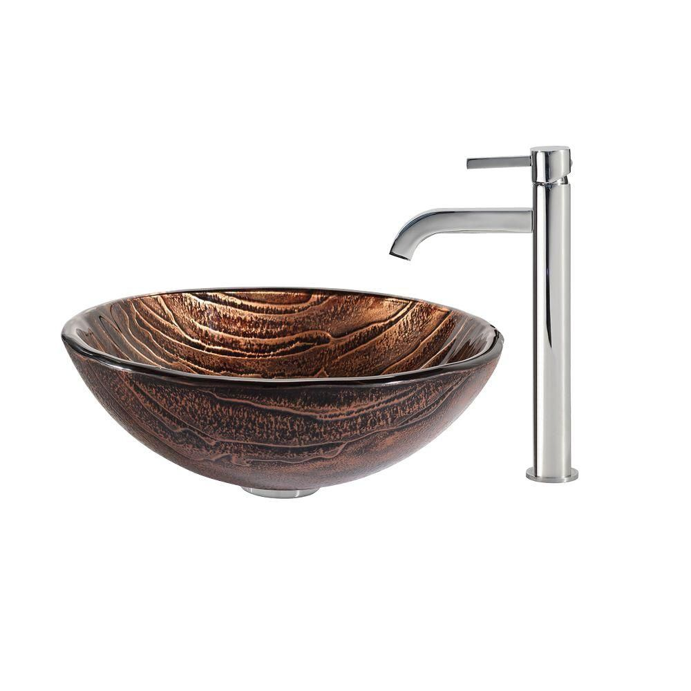 Glass Vessel Sink in Gaia with Ramus Faucet in Chrome