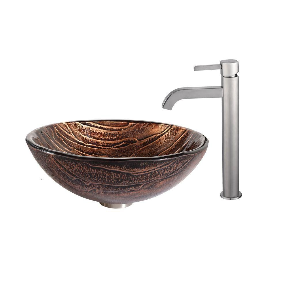 Glass Vessel Sink in Gaia with Ramus Faucet in Satin Nickel