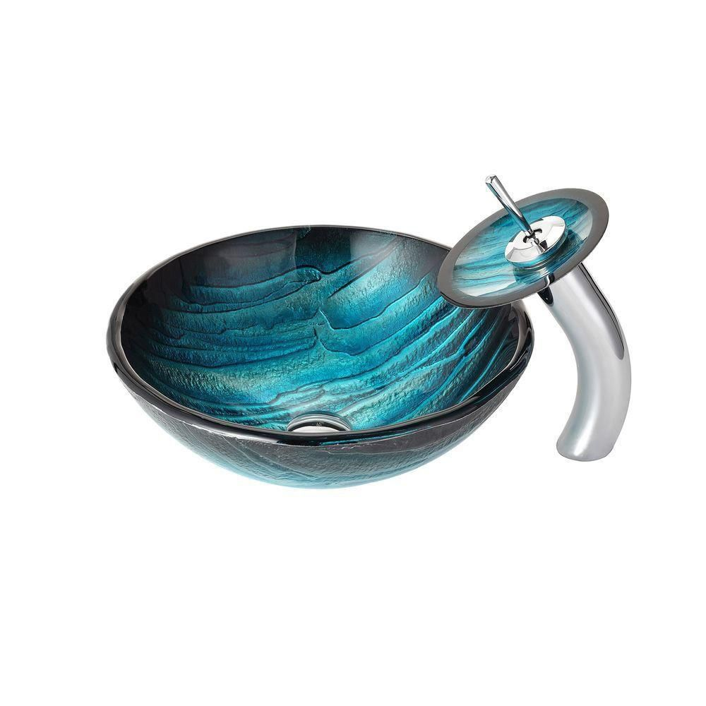 Kraus Ladon Glass Vessel Sink with Waterfall Faucet in Chrome The ...