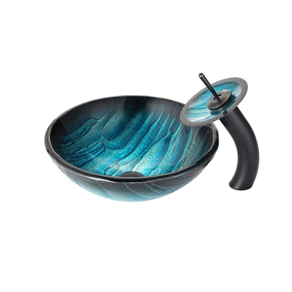 Ladon Glass Vessel Sink with Waterfall Faucet in Oil-Rubbed Bronze