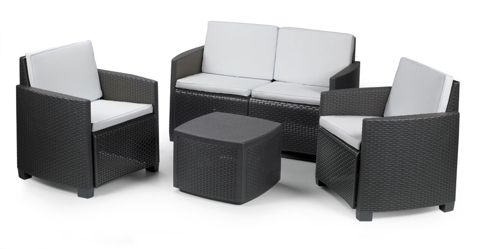 Etna Conversation Set in Anthracite with Grey Cushions