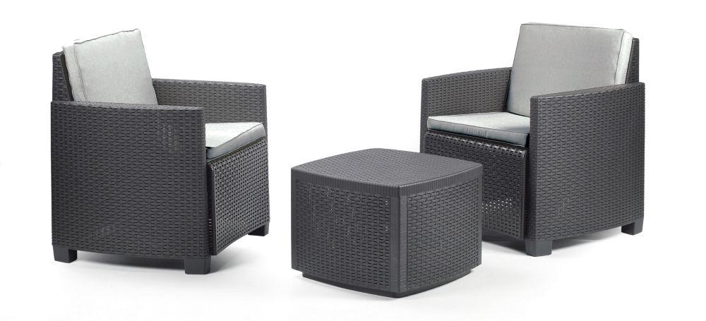 Trinacria Bistro Set With Grey Cushions in Anthracite
