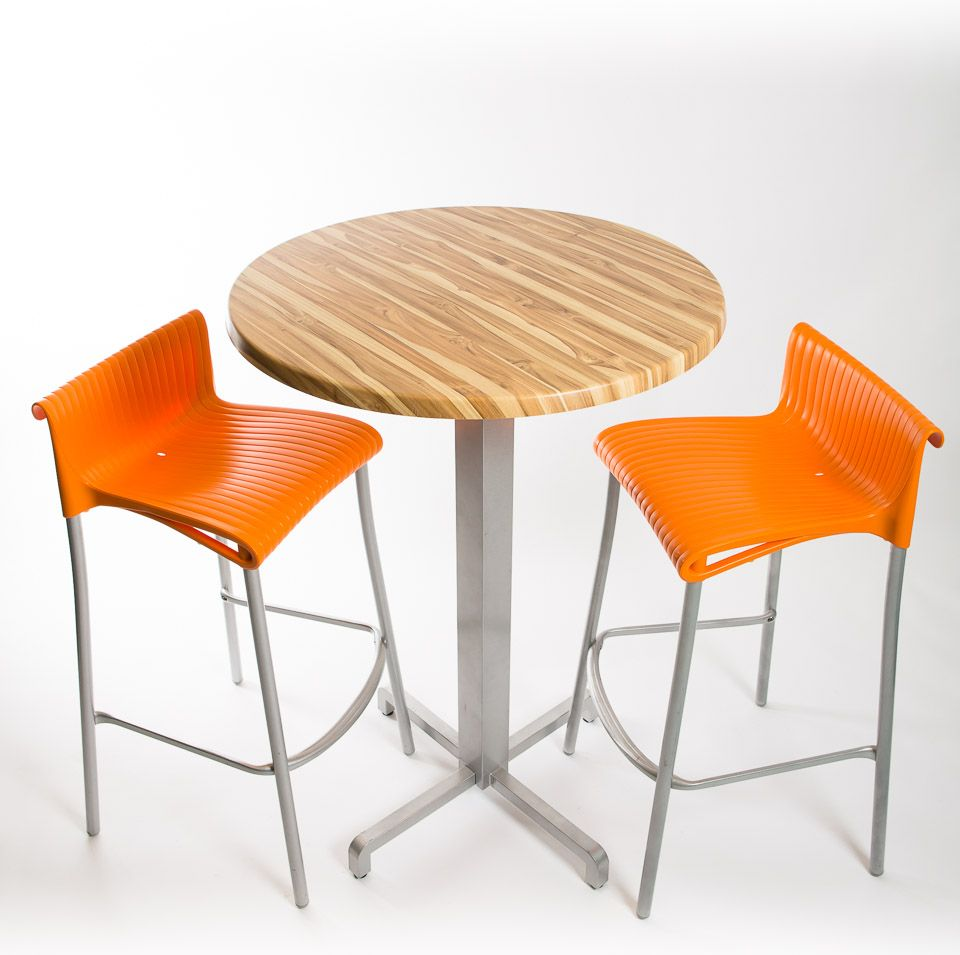 Nardi Bar Set - 2 x Duca Bar Stools (Orange), 1 x 30 Round Werzalit Top in  Brazillian Walnut Des...