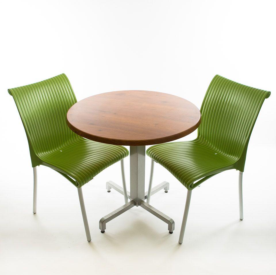 Nardi Bistro Set - 2 x Regina Stacking Chairs (Green), 1 x 30 Round Werzalit Top in  Pinie Design