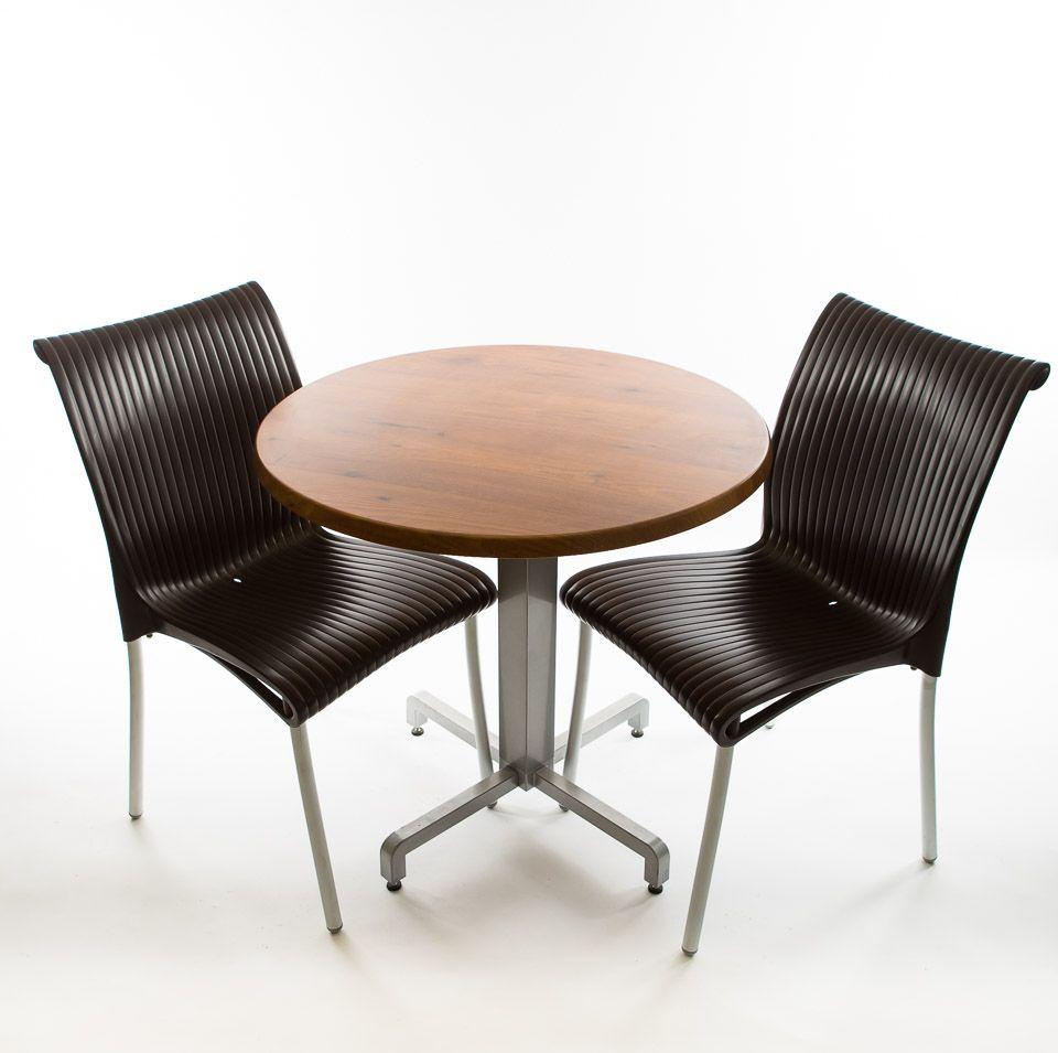 Nardi Bistro set - 2 x Regina Chairs (Anthracite), 1 x 30 Round Werzalit Top in  Pinie Design  an...