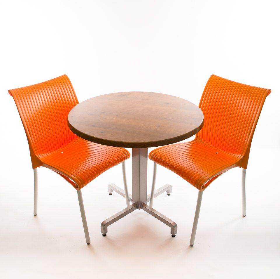Bistro set - 2 x Regina Chairs (Orange), 1 x 30 Round Werzalit Top in  Pinie Design  and Aluminum...