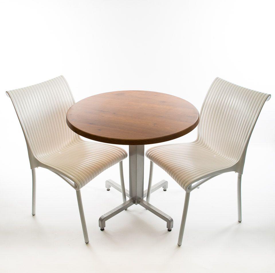 Bistro set - 2 x Regina Chairs (White), 1 x 30 Round Werzalit Top in  Pinie Design  and Aluminum ...