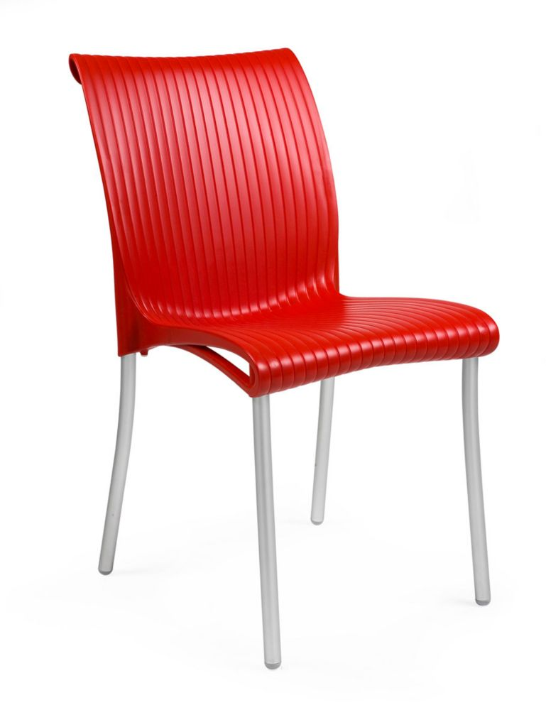 4 pack of Regina stacking Resin Side Chair with Anodized Aluminum Legs -(Red)