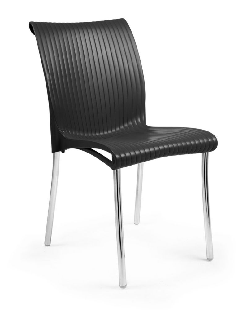 4 pack of Regina stacking Resin Side Chair with Anodized Aluminum Legs -(Anthracite)
