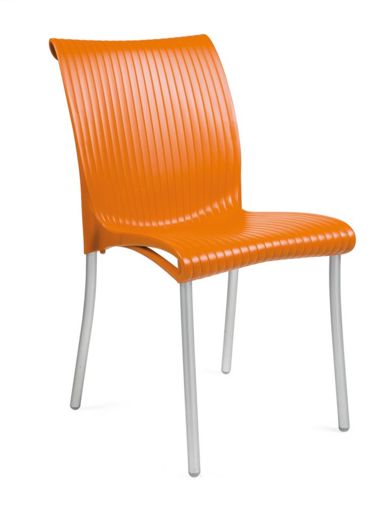 4 pack of Regina stacking Resin Side Chair with Anodized Aluminum Legs -(Orange)