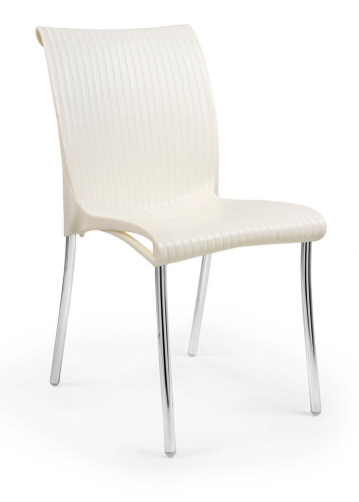 nardi paquet de 4 chaises regina empilables en r sine avec pieds en aluminium anodis cr me au. Black Bedroom Furniture Sets. Home Design Ideas