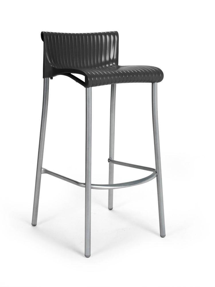 Paquet de 4 Chaises de Bar Duca empilables en résine avec pieds en aluminium anodisé -(Anthracite...
