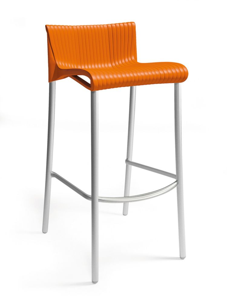4 pack of Duca Stacking Resin Barstools with Anodized Aluminum Legs -(Orange)