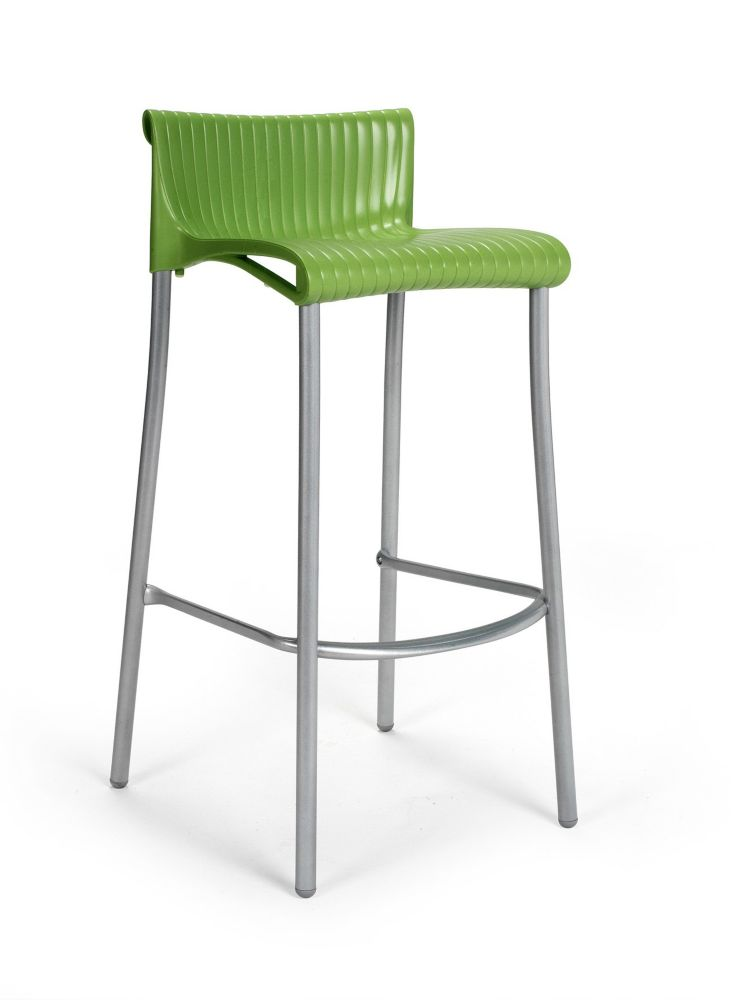 4 pack of Duca Stacking Resin Barstools with Anodized Aluminum Legs -(Green)