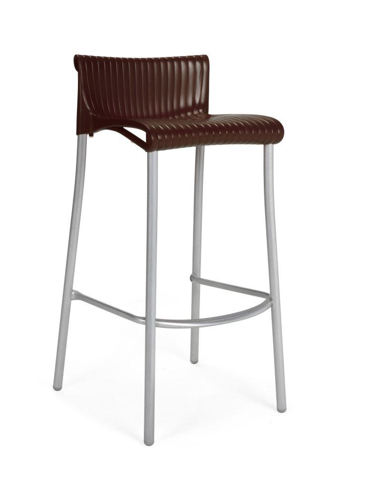 Paquet de 4 Chaises de Bar Duca empilables en résine avec pieds en aluminium anodisé -(Café)
