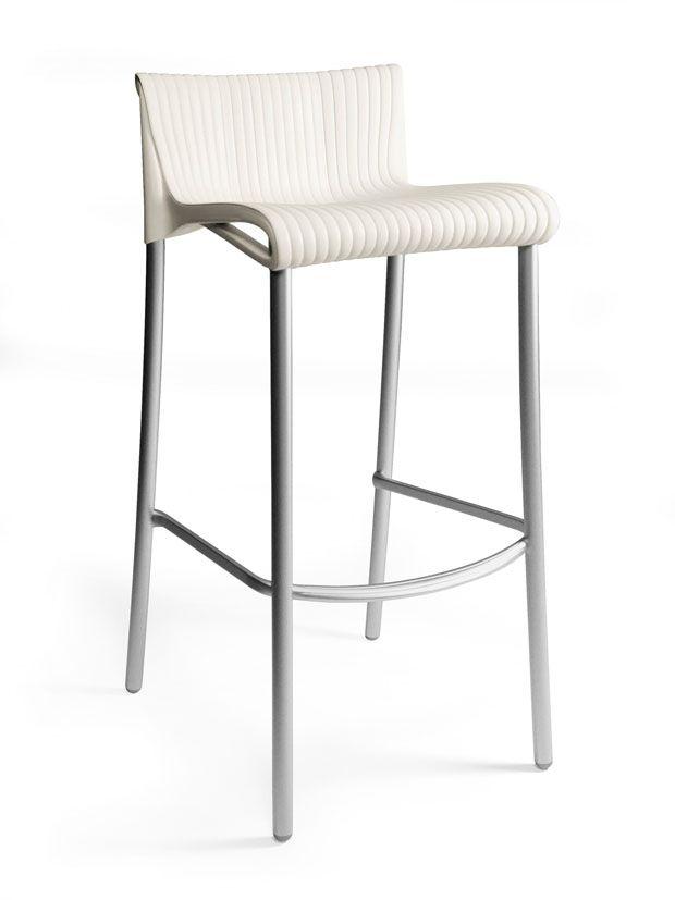 Paquet de 4 Chaises de Bar Duca empilables en résine avec pieds en aluminium anodisé -(Blanc)