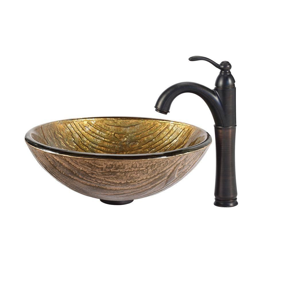 Terra Glass Vessel Sink with Riviera Faucet in Oil-Rubbed Bronze