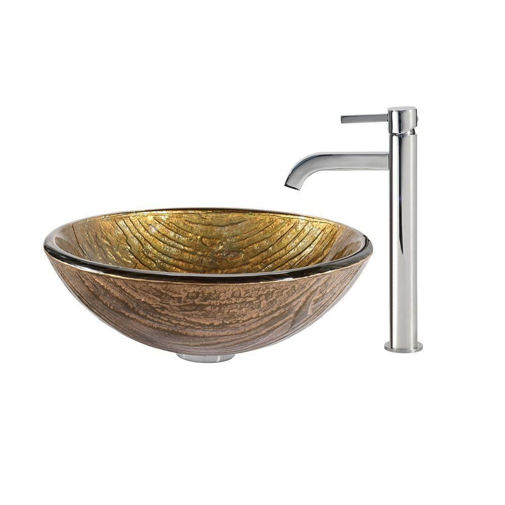 Terra Glass Vessel Sink with Ramus Faucet in Chrome