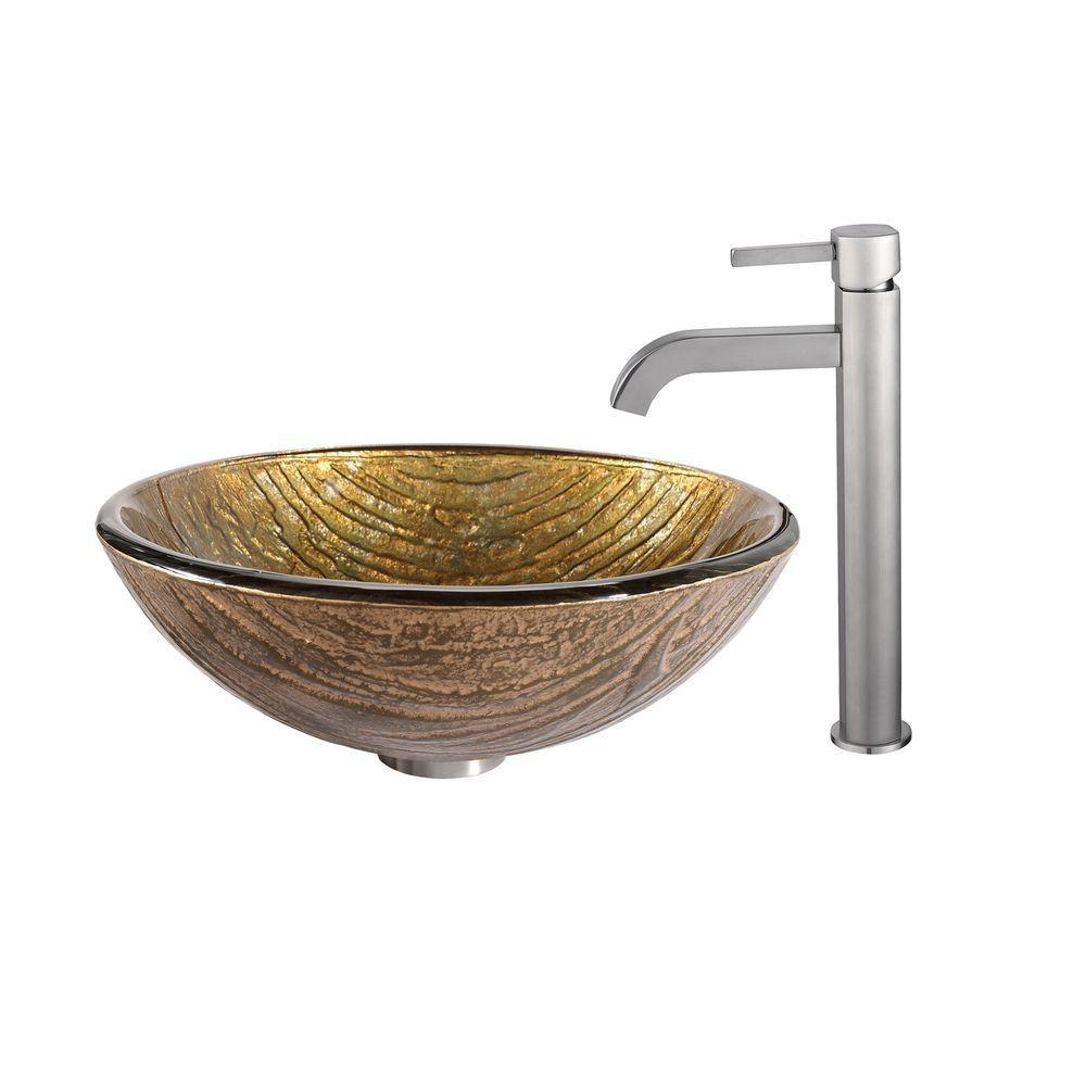 Lavabo-vasque en verre Terra et robinet Ramus, nickel satiné