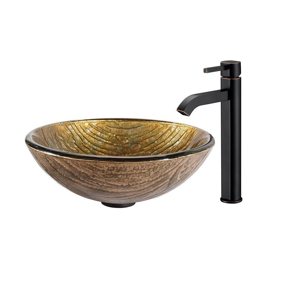 Terra Glass Vessel Sink with Ramus Faucet in Oil-Rubbed Bronze