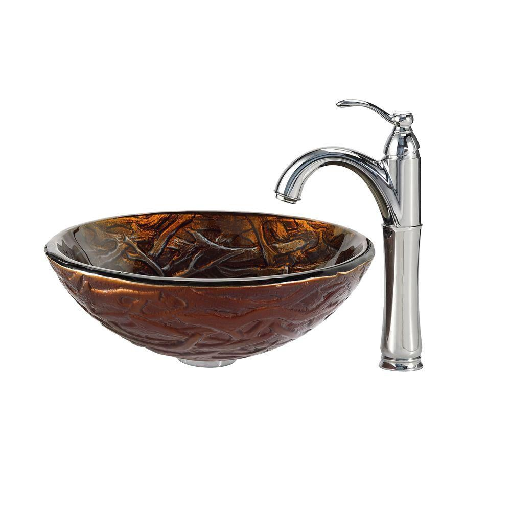 Dryad Glass Vessel Sink with Riviera Faucet in Chrome
