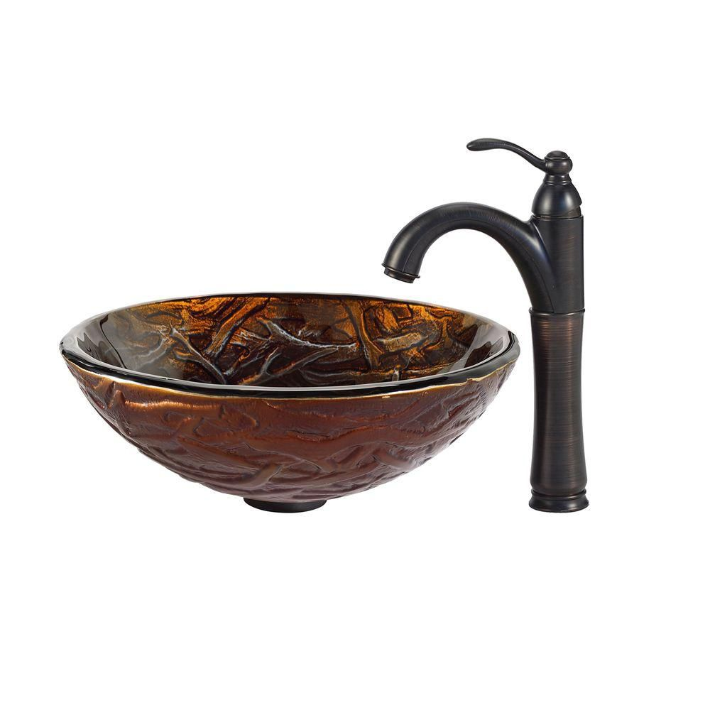 Dryad Glass Vessel Sink with Riviera Faucet in Oil-Rubbed Bronze