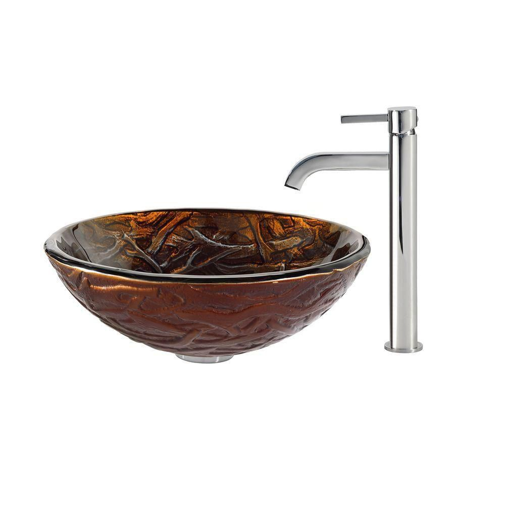 Dryad Glass Vessel Sink with Ramus Faucet in Chrome